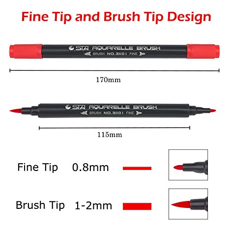 STA AQUARELLE BRUSH MARKER RED